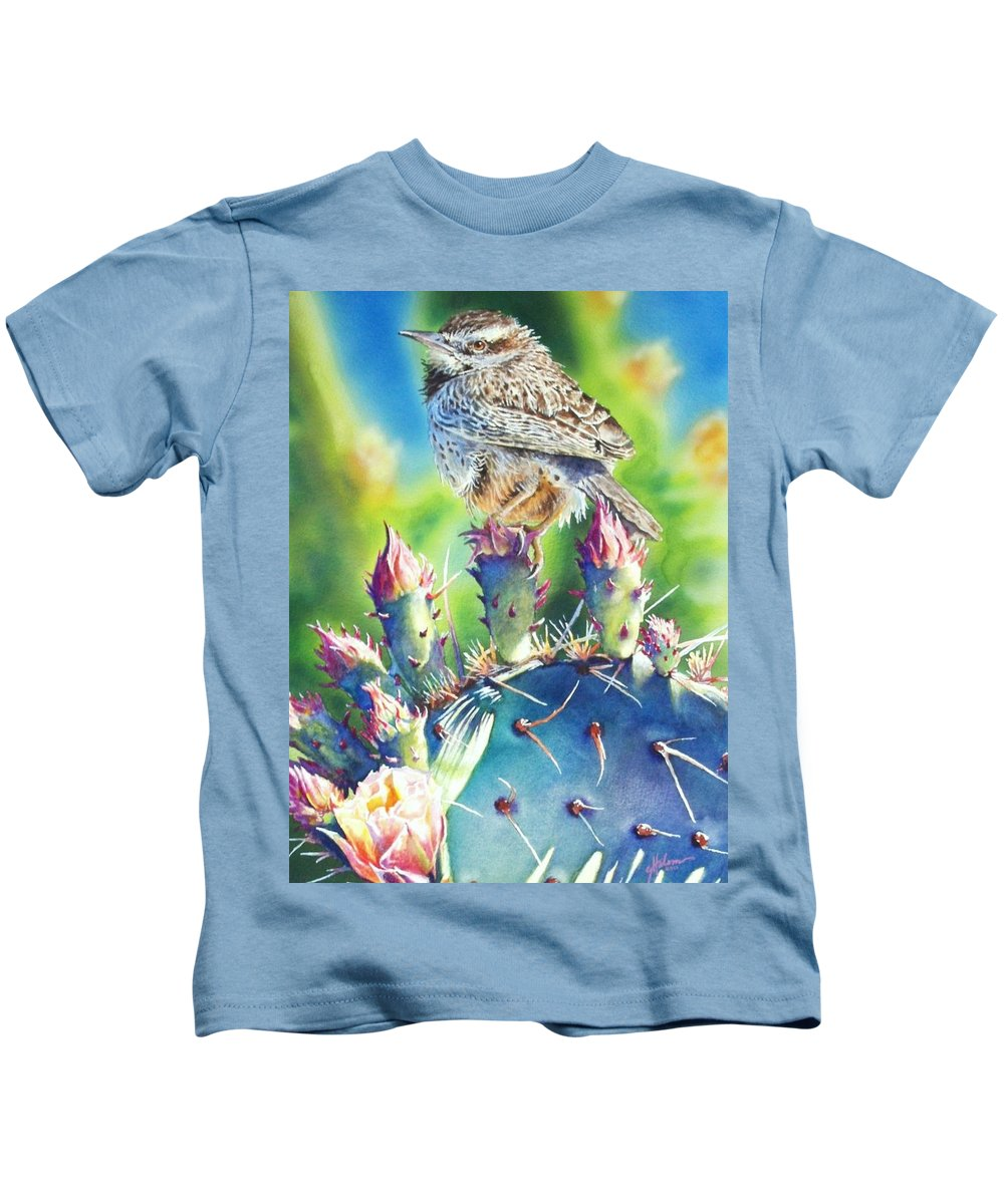Wren Kids T-Shirt featuring the painting Cactus Wren by Greg and Linda Halom