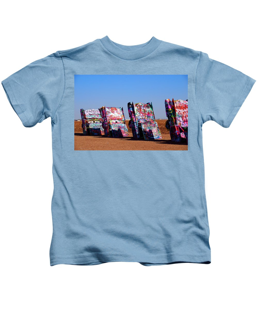 Photography Kids T-Shirt featuring the photograph Cadillac Ranch by Susanne Van Hulst