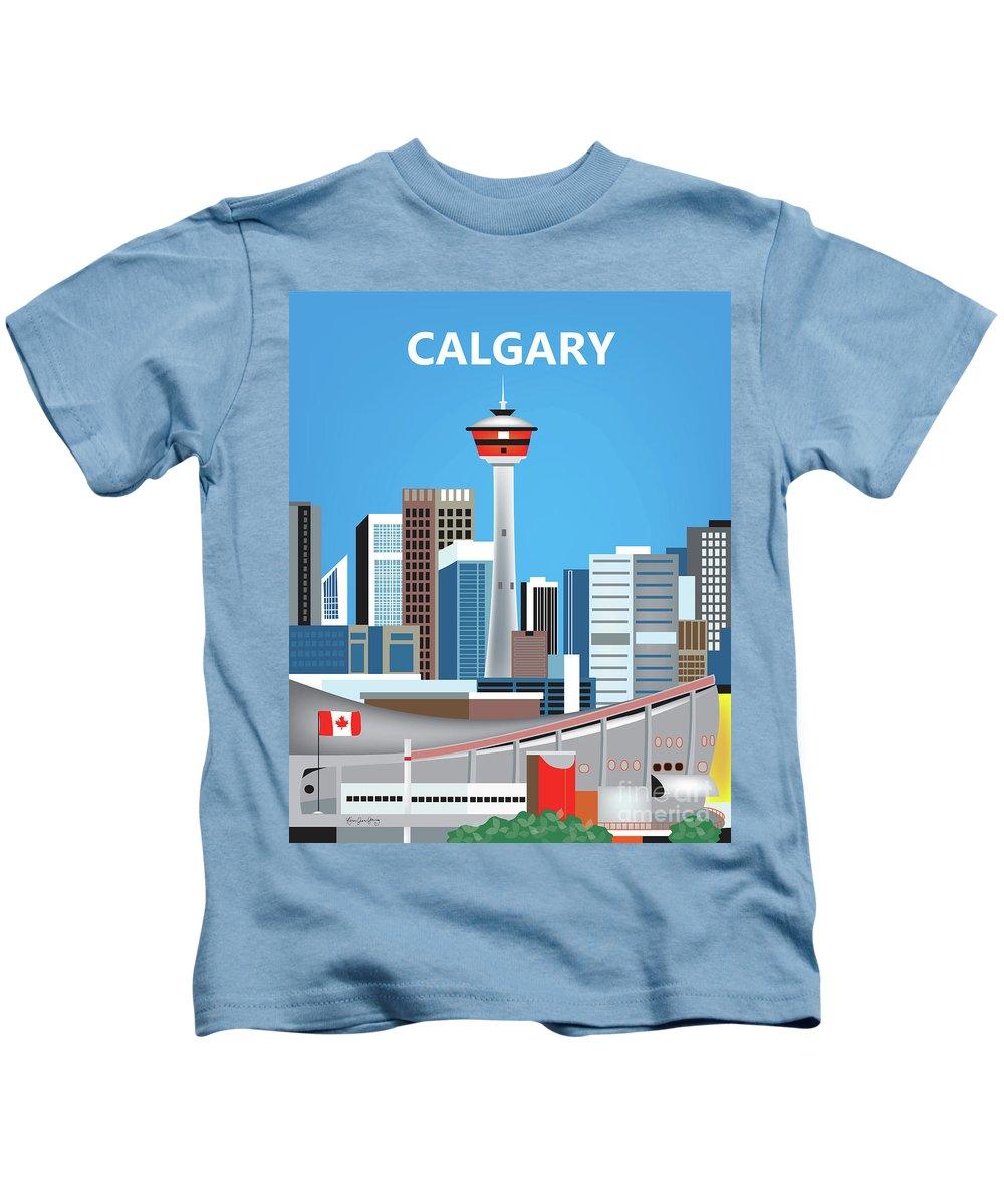 Calgary Kids T-Shirt featuring the digital art Calgary Alberta Canada Vertical Skyline by Karen Young