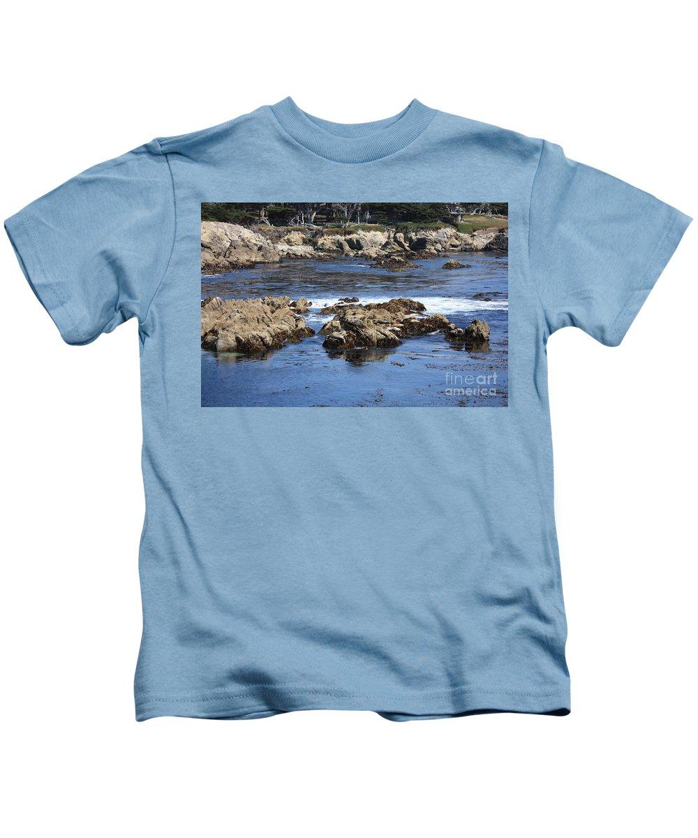 California Seaside Kids T-Shirt featuring the photograph California Coast by Carol Groenen
