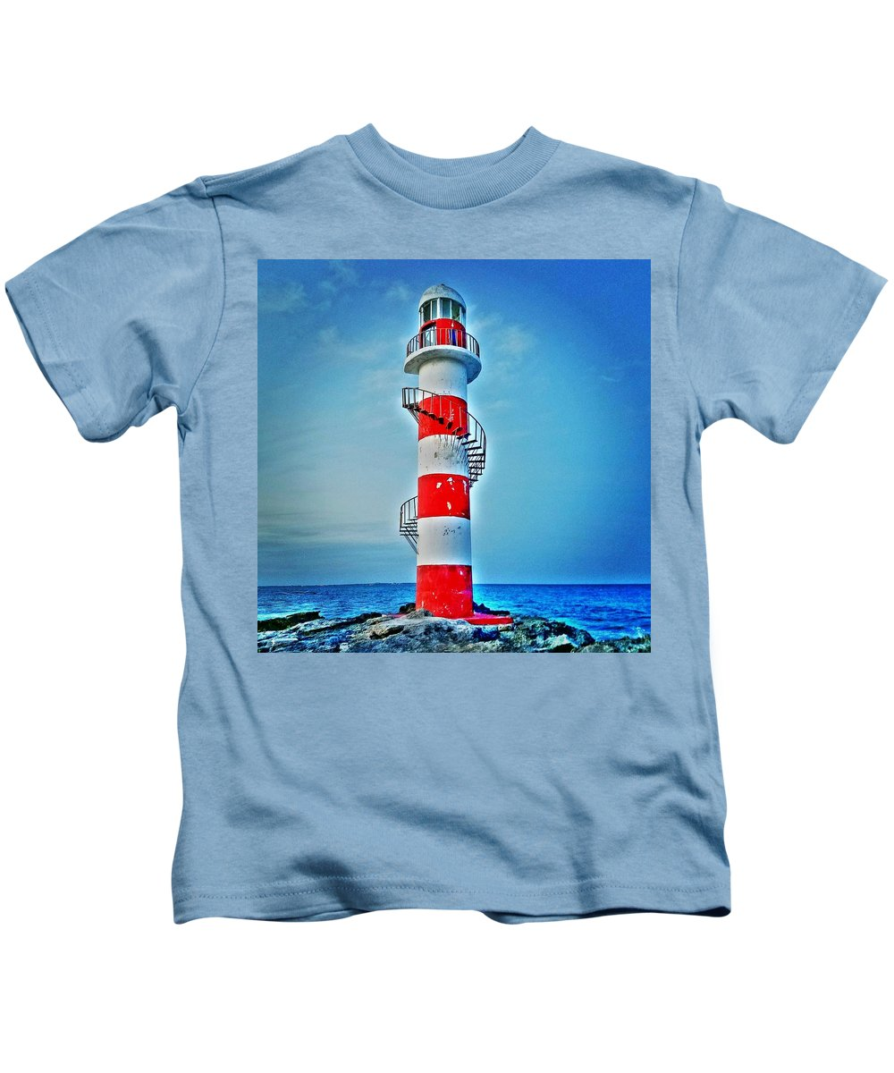Cancun Lighthouse Blue Red White Ocean Peninsula Mexico Quintana Roo Vacation Hyatt Ziva Dreams Yucatan Kids T-Shirt featuring the photograph Cancun Lighthouse by Wendy Johnson