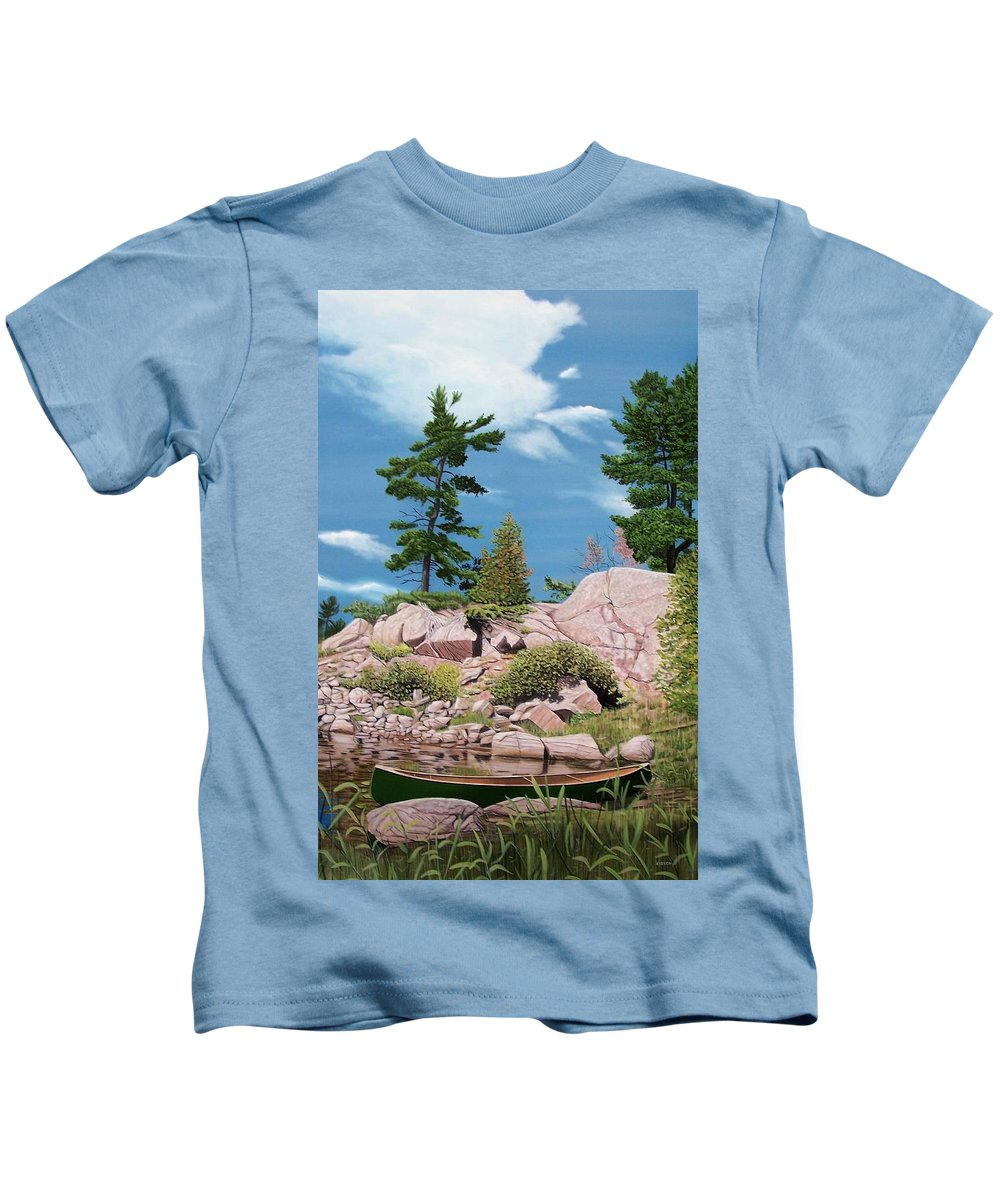 Landscapes Kids T-Shirt featuring the painting Canoe Among The Rocks by Kenneth M Kirsch