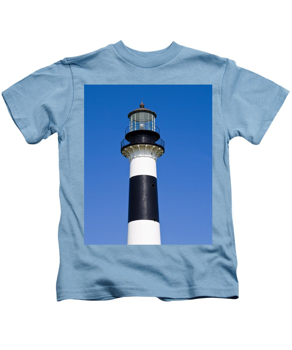 Cape; Canaveral; Light; Lighthouse; Florida; Keeper; Navigation; Usa; Atlantic; Kennedy; Space; Beac Kids T-Shirt featuring the photograph Cape Canaveral Lighthouse On The East Coast Of Florida by Allan Hughes