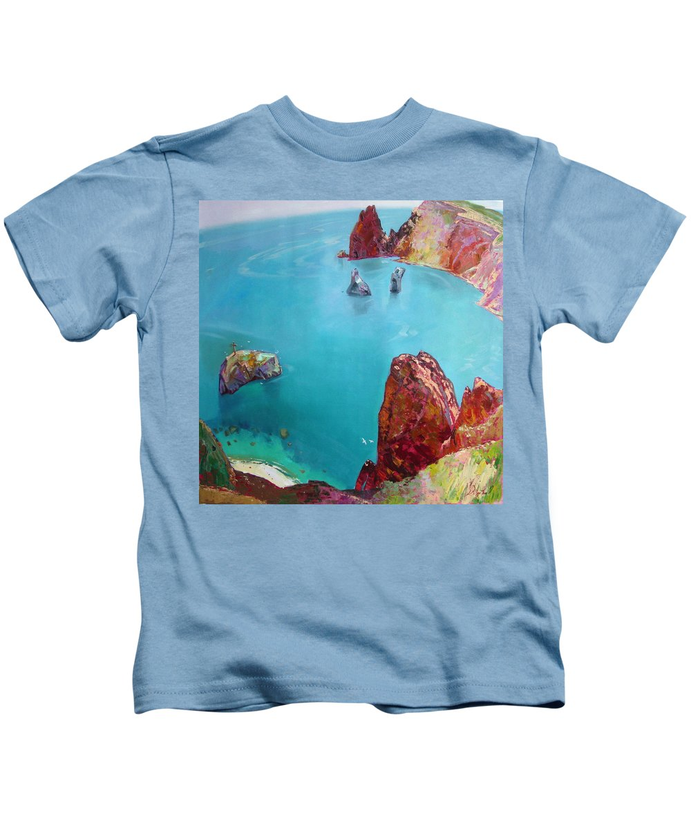 Ignatenko Kids T-Shirt featuring the painting Cape Fiolent by Sergey Ignatenko
