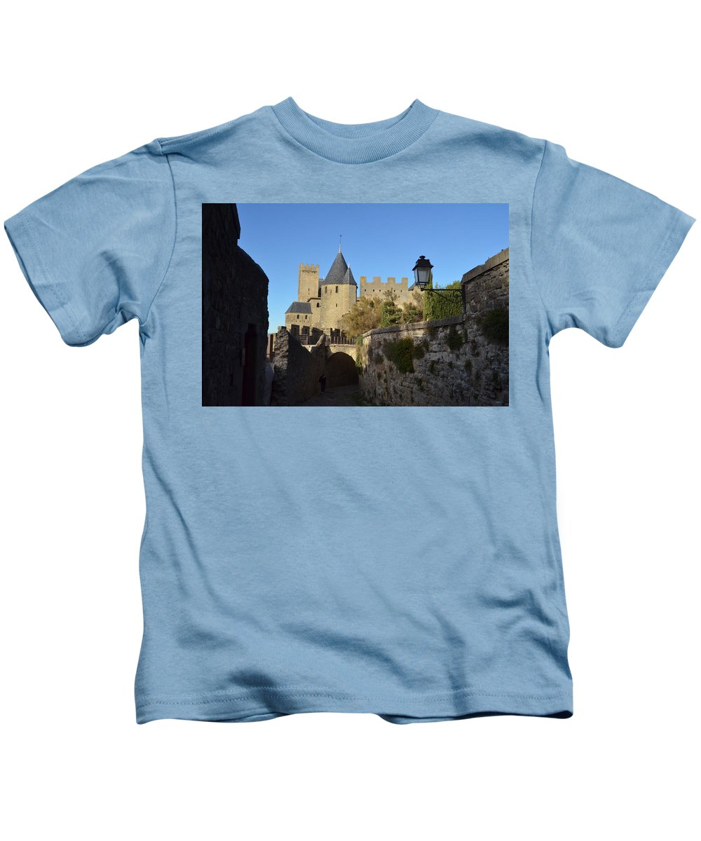 Carcassonne Kids T-Shirt featuring the photograph Carcassonne Castle by Dawn Crichton