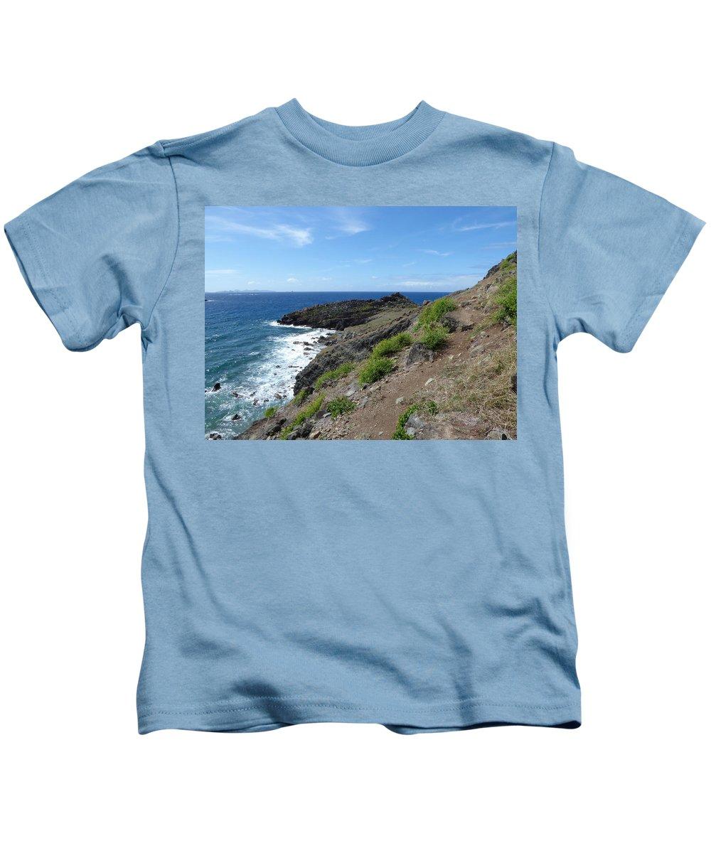Caribbean Kids T-Shirt featuring the photograph Caribbean Coastal Path by Margaret Brooks