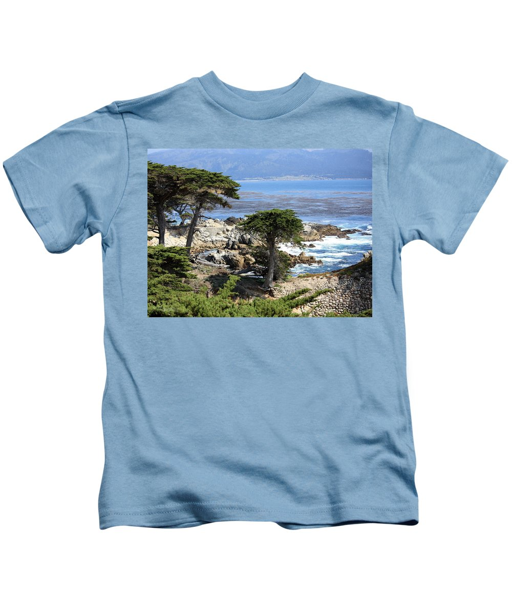 California Kids T-Shirt featuring the photograph Carmel Seaside With Cypresses by Carol Groenen