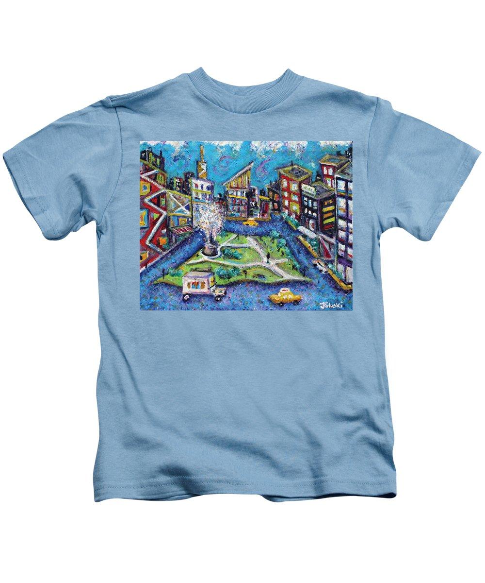 New York City Kids T-Shirt featuring the painting Carmine Street by Jason Gluskin