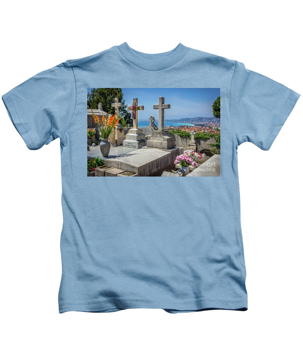 Castle Hill Kids T-Shirt featuring the photograph Castle Hill Graves Overlooking Nice, France by Liesl Walsh