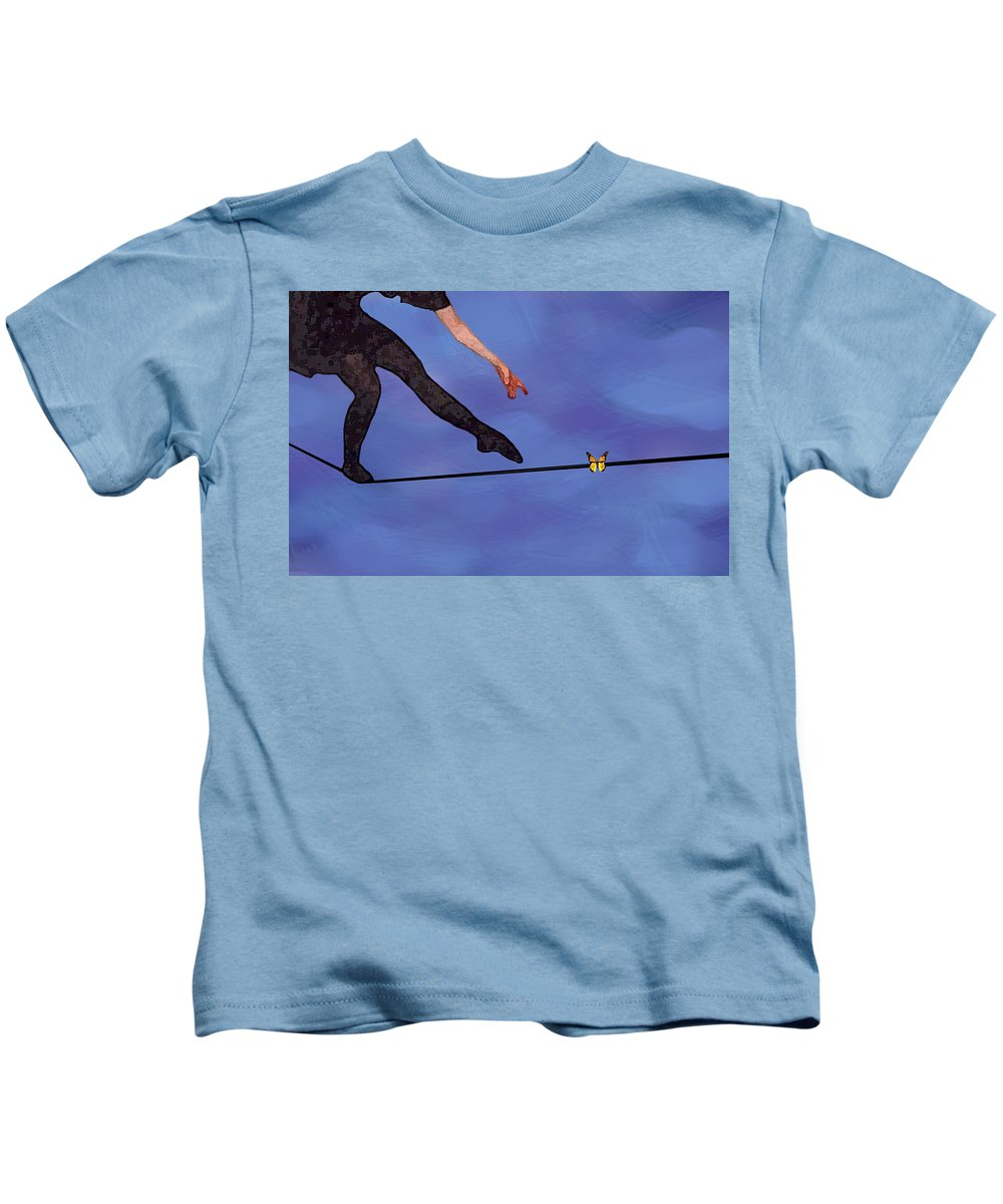 Surreal Kids T-Shirt featuring the painting Catching Butterflies by Steve Karol