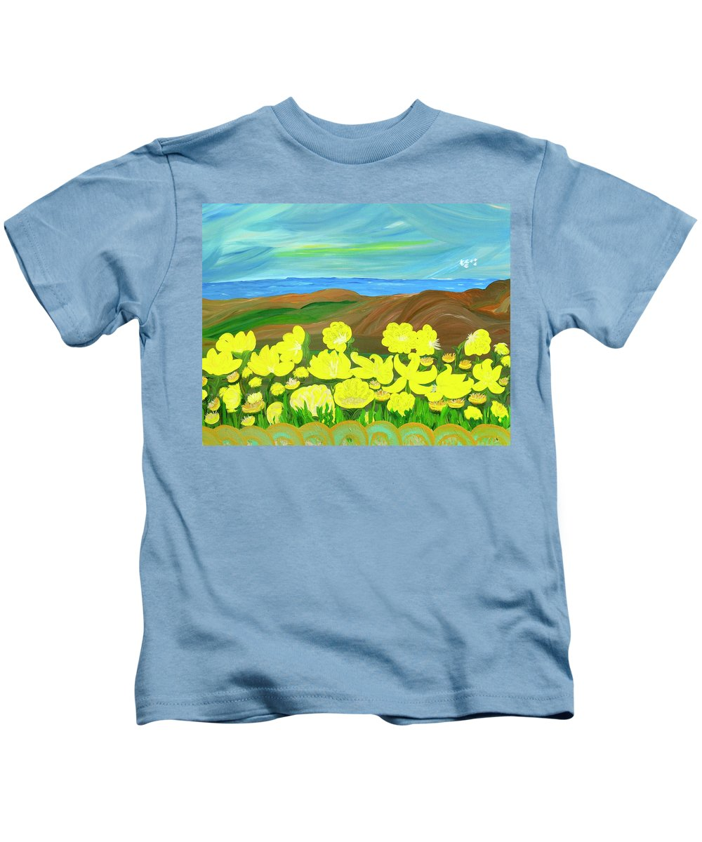 Landscape Kids T-Shirt featuring the painting Celebration by Sara Credito