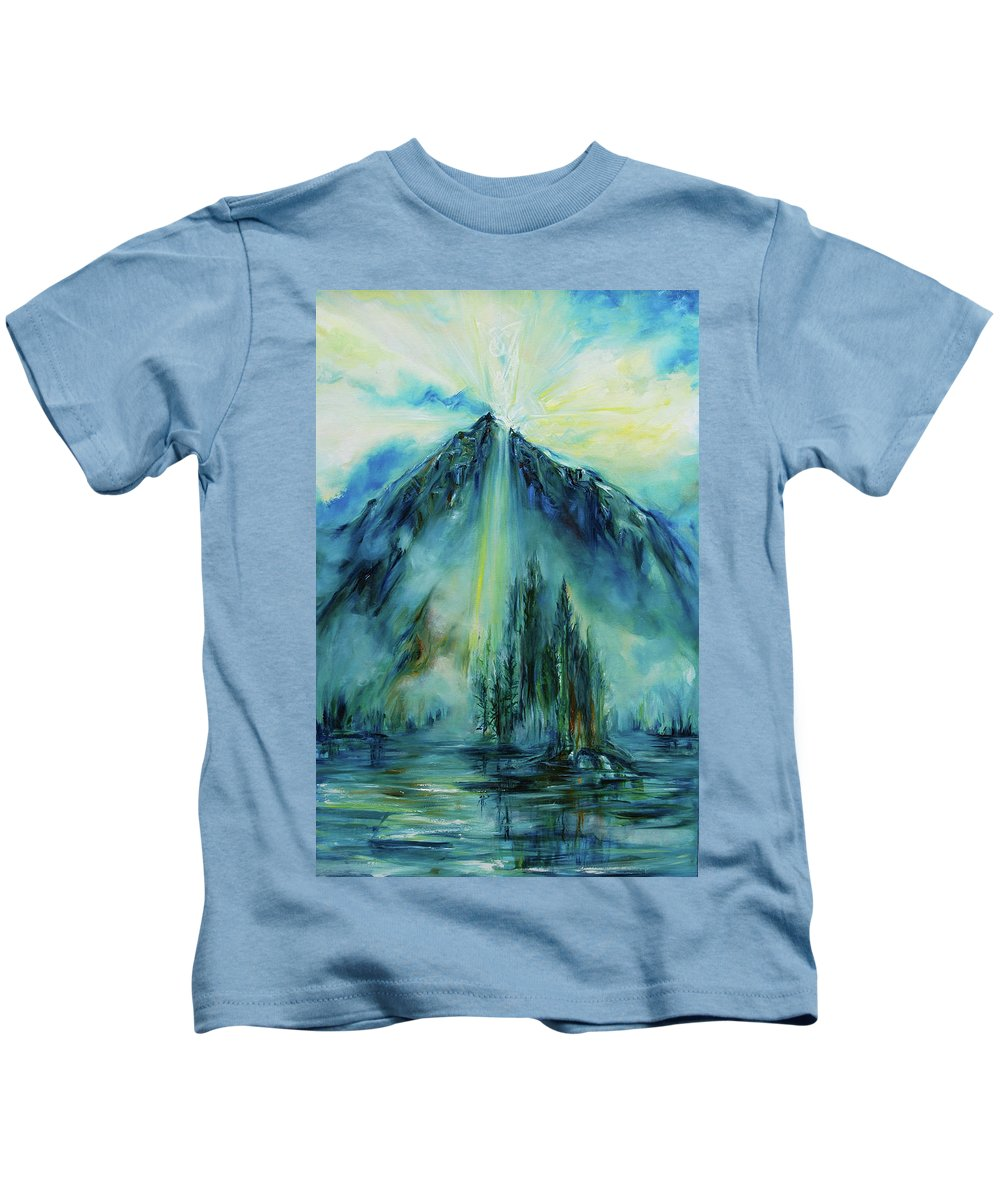 Landscape Kids T-Shirt featuring the painting Celtic Cross by Jennifer Christenson