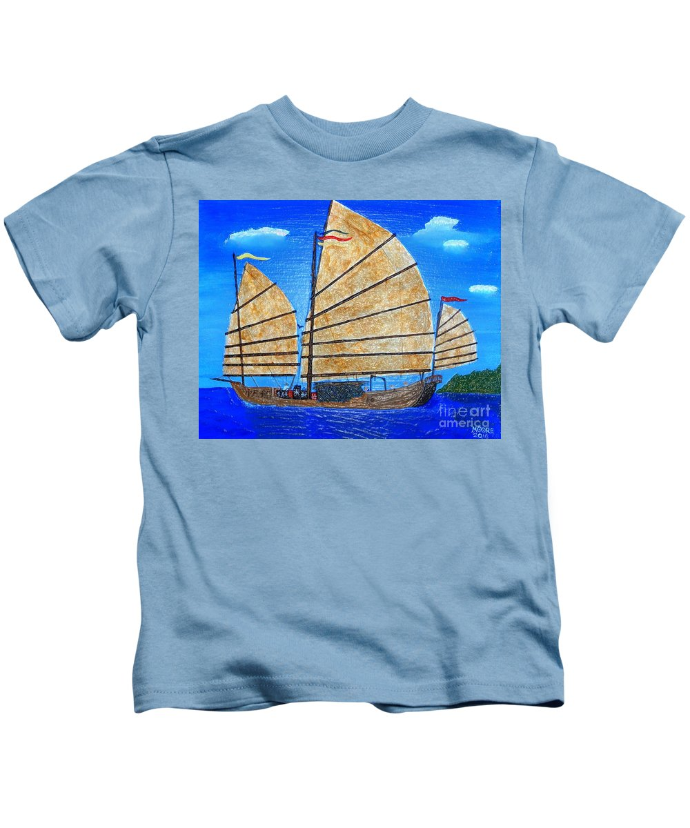 Chinese Junk Kids T-Shirt featuring the painting Chinese Junk by Michael Moore