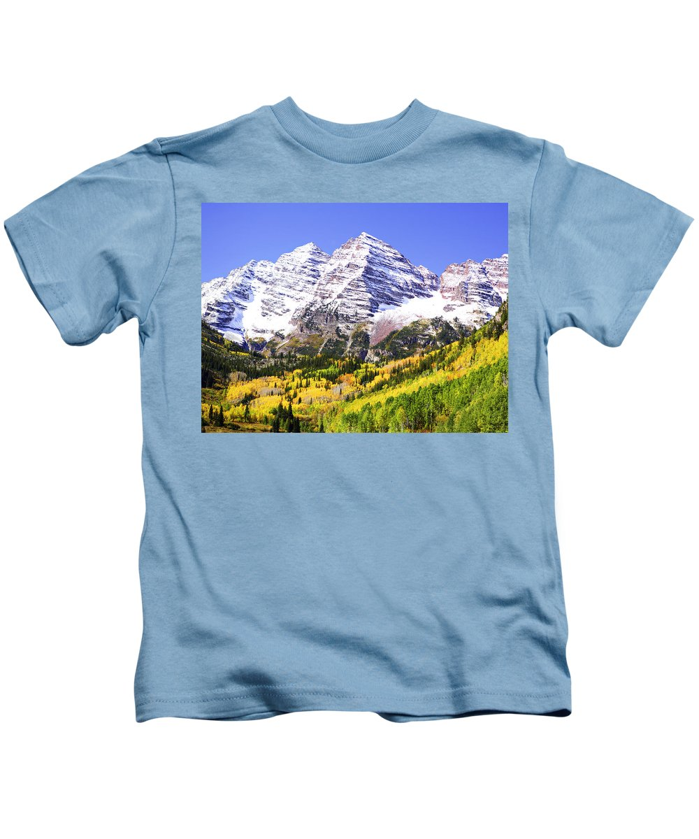 Americana Kids T-Shirt featuring the photograph Classic Maroon Bells by Marilyn Hunt