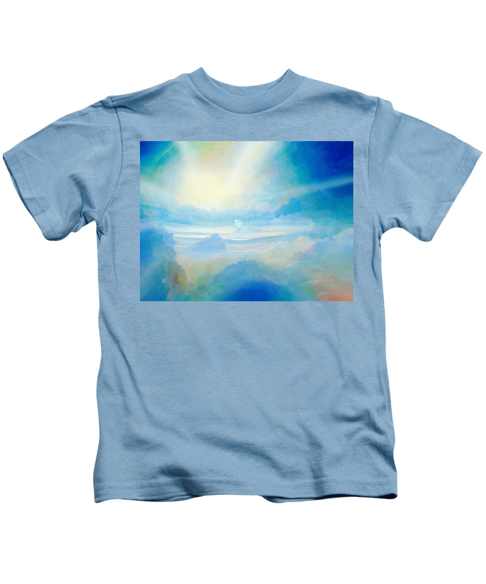 Blue Kids T-Shirt featuring the painting Cloud's Sea by Silvian Sternhagel
