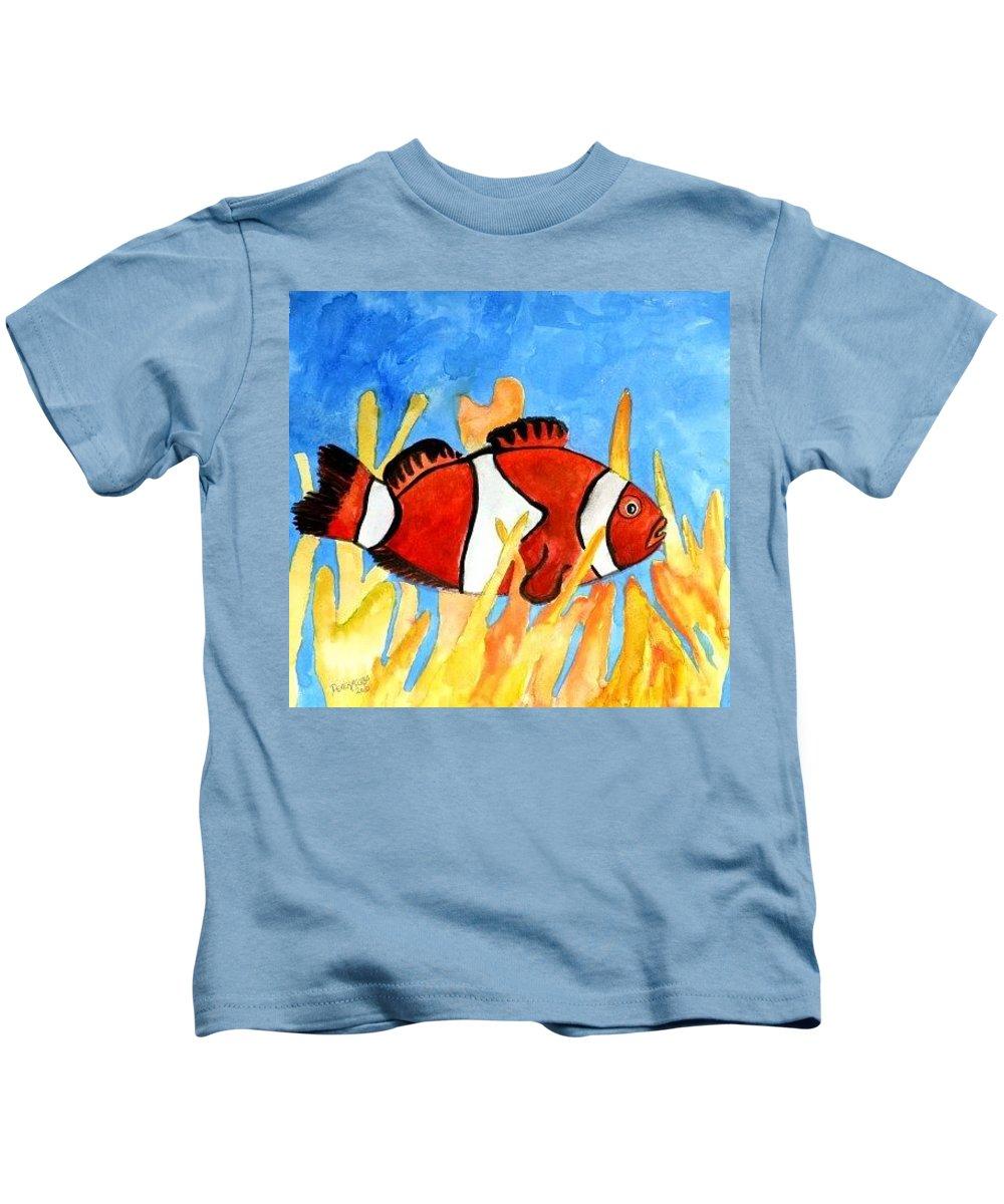 Clownfish Kids T-Shirt featuring the painting Clownfish Marine Sealife Art Print by Derek Mccrea