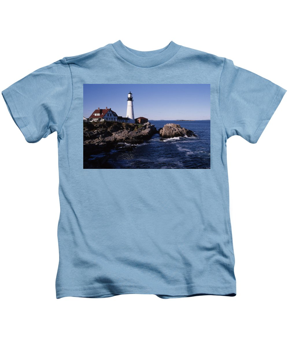 Landscape New England Lighthouse Nautical Coast Kids T-Shirt featuring the photograph Cnrf0910 by Henry Butz