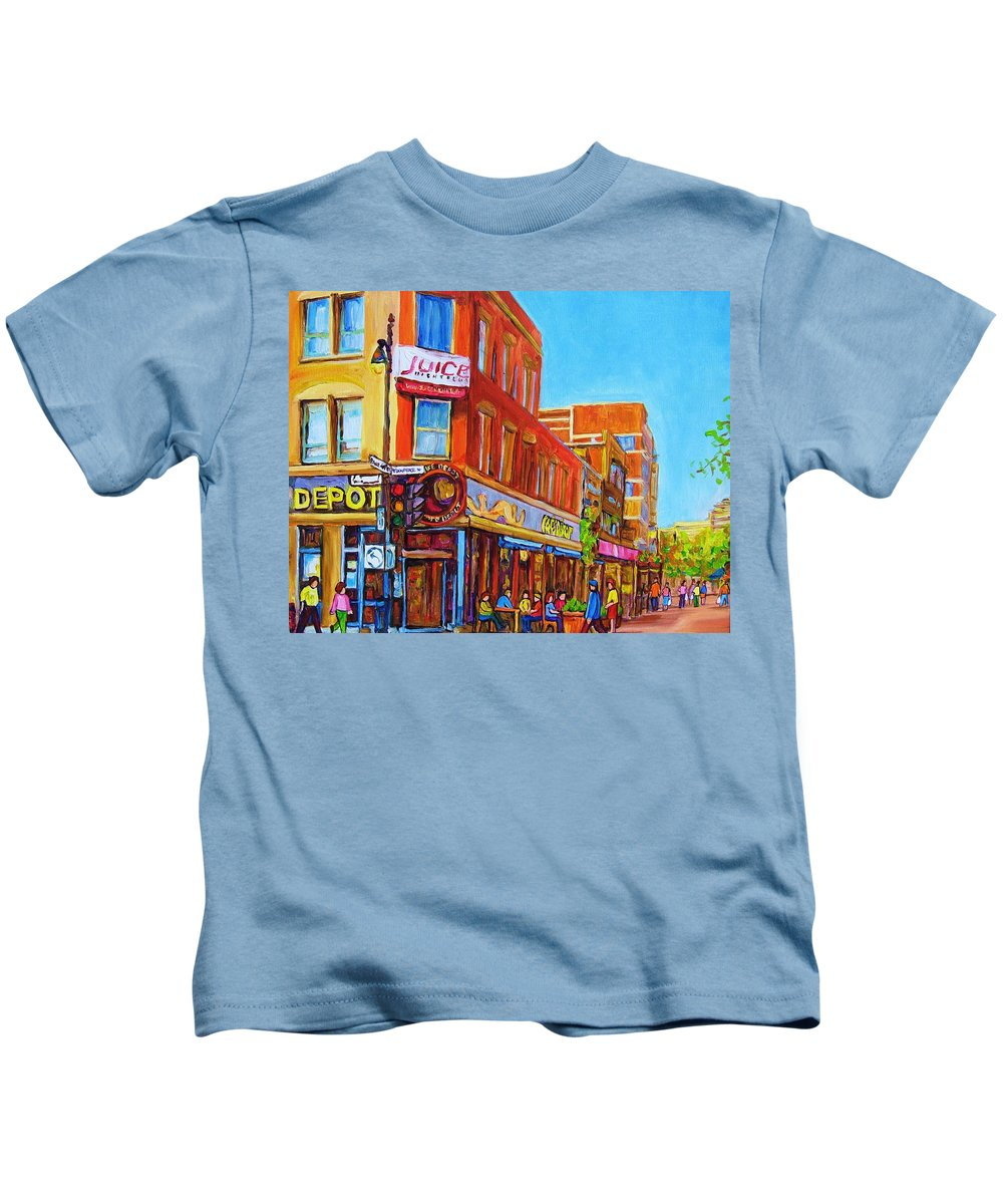 Cityscape Kids T-Shirt featuring the painting Coffee Depot Cafe And Terrace by Carole Spandau