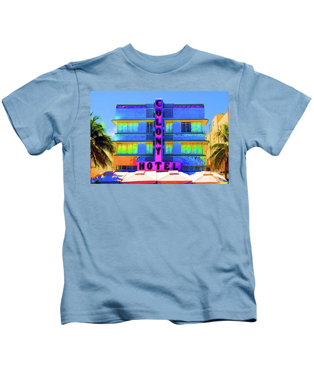 Colony Kids T-Shirt featuring the photograph Colony Hotel Palm by Jost Houk