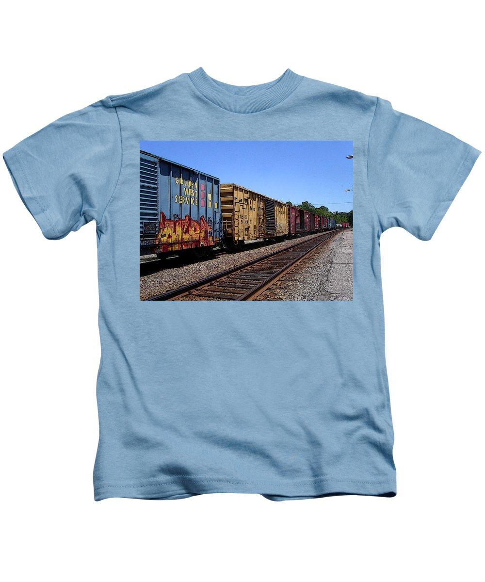 Train Kids T-Shirt featuring the photograph Color Train by Anne Cameron Cutri