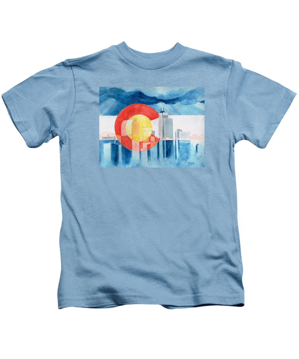 Colorado Kids T-Shirt featuring the painting Colorado Flag by Andrew Gillette