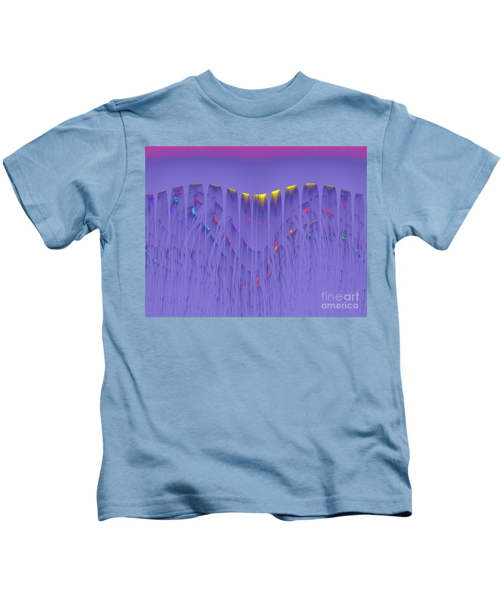 Color Colorful Abstract Water Waterfall Yellow Pink Purple Red Blue Expressionism Painting Fractal Energy Power Dynamic Flow Flowing Kids T-Shirt featuring the digital art Colorfall by Steve K