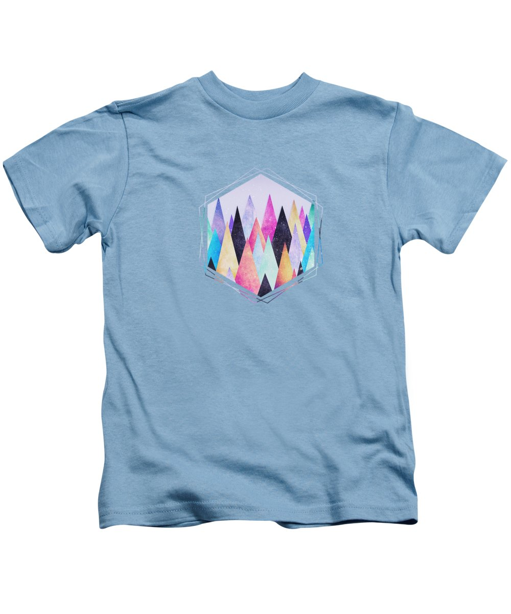 Peak Kids T-Shirt featuring the digital art Colorful Abstract Geometric Triangle Peak Woods by Philipp Rietz