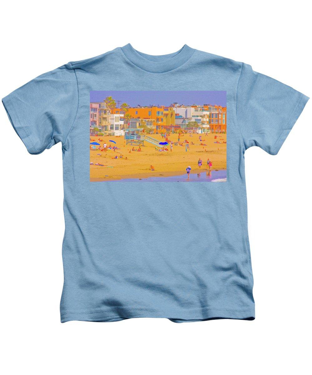 2008 Kids T-Shirt featuring the digital art Colorful Venice Beach by Amer Khwaja