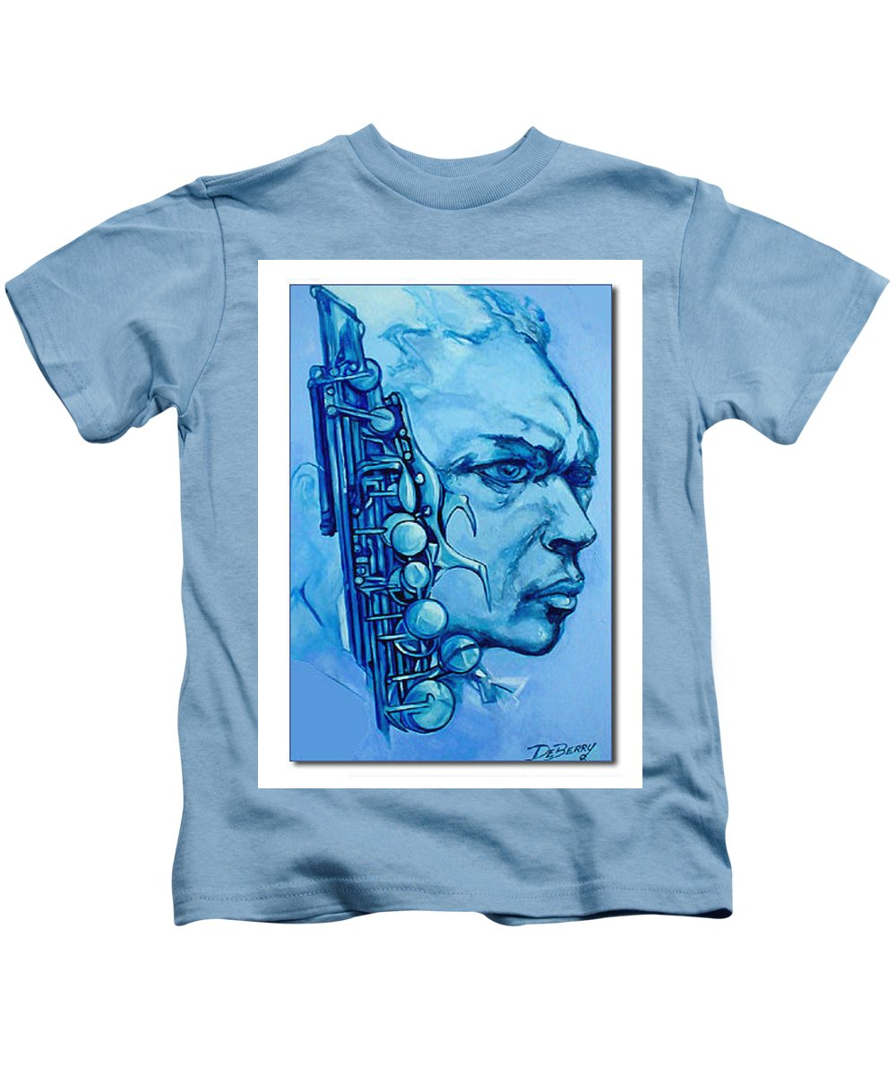 Original Fine Art By Lloyd Deberry Kids T-Shirt featuring the painting Coltrane by Lloyd DeBerry