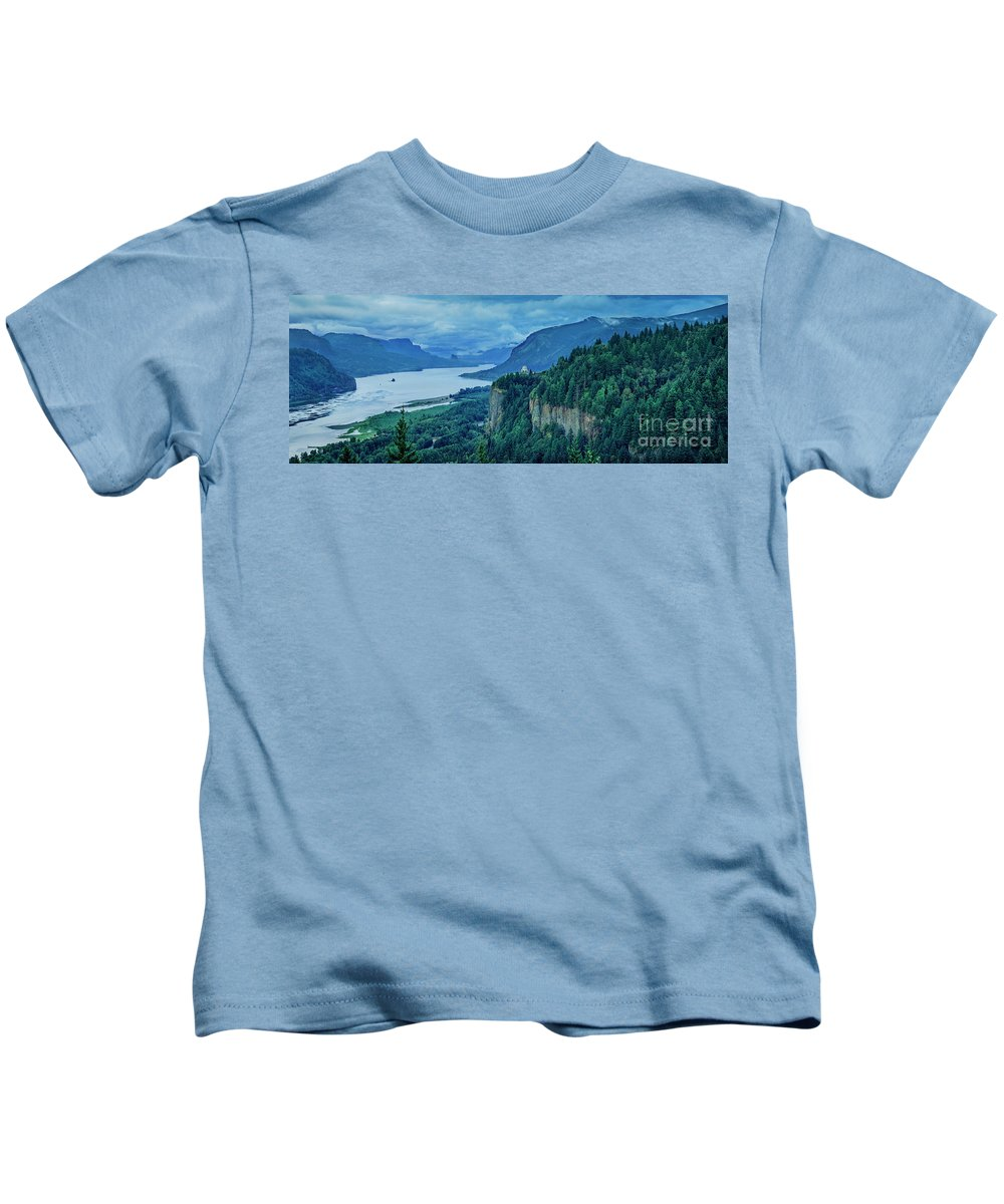 America Kids T-Shirt featuring the photograph Columbia River Gorge Panoramic by Brian Jannsen