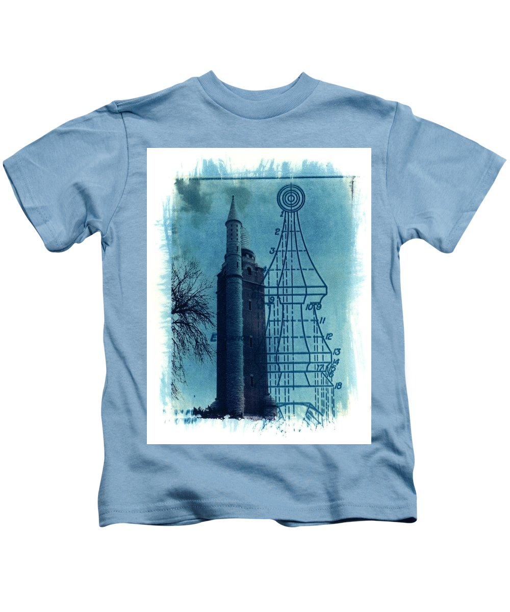 Alternative Process Photography Kids T-Shirt featuring the photograph Compton Blueprint by Jane Linders
