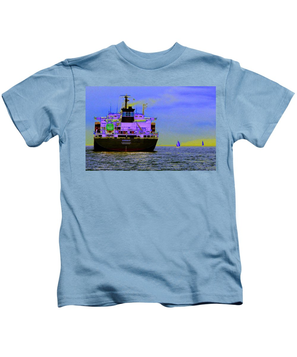 Seattle Kids T-Shirt featuring the photograph Container Sail by Tim Allen