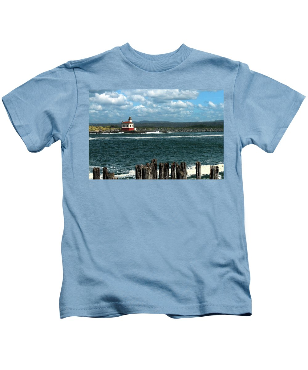 Lighthouse Kids T-Shirt featuring the photograph Coquille River Lighthouse by James Eddy