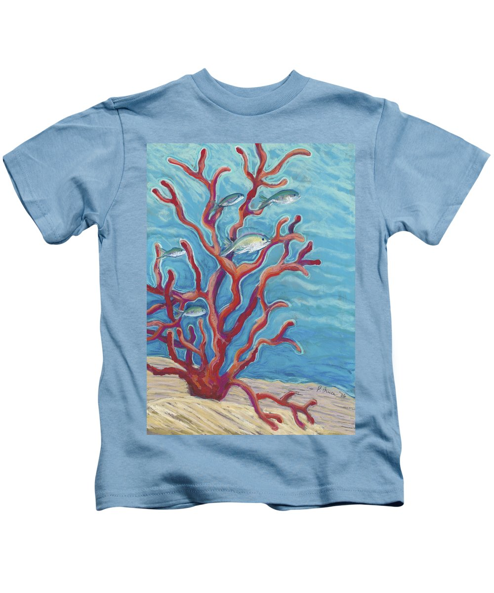 Animal Art Kids T-Shirt featuring the painting Coral Assets by Patti Bruce - Printscapes