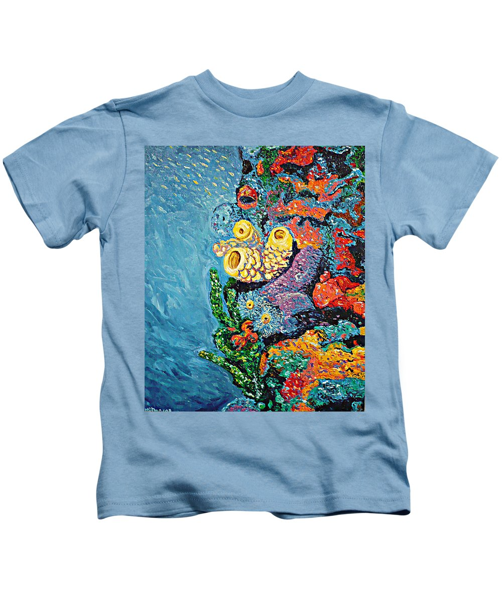 Coral Kids T-Shirt featuring the painting Coral With Cucumber by Ericka Herazo