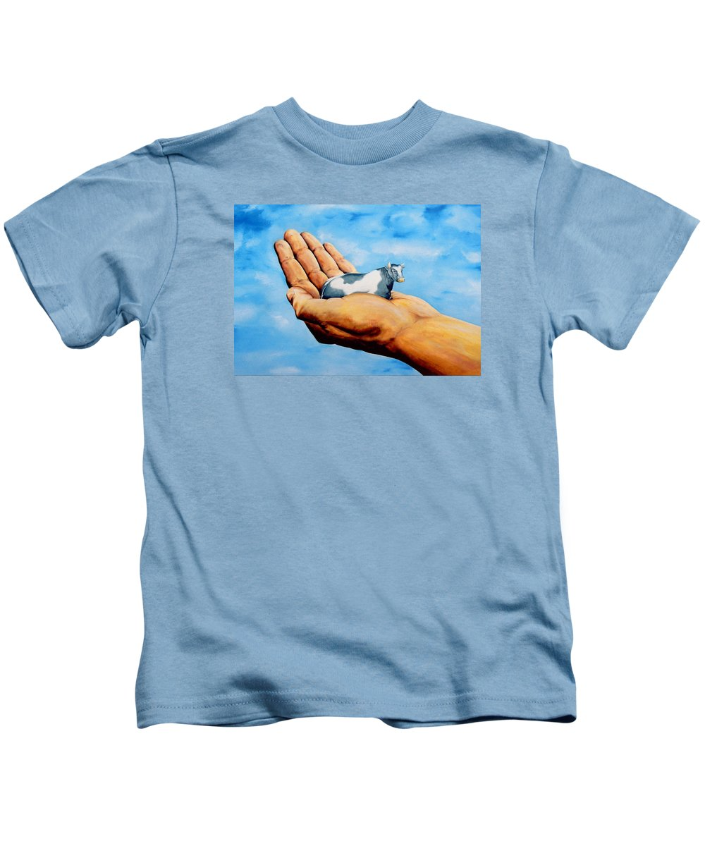 Surreal Kids T-Shirt featuring the painting Cow In Hand by Mark Cawood