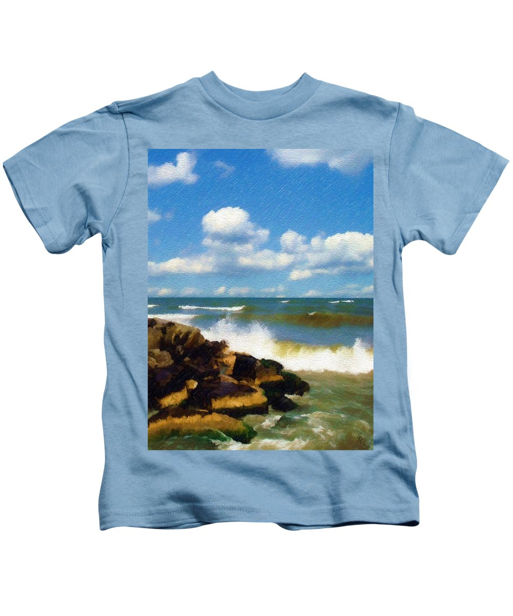 Seascape Kids T-Shirt featuring the photograph Crashing Into Shore by Sandy MacGowan