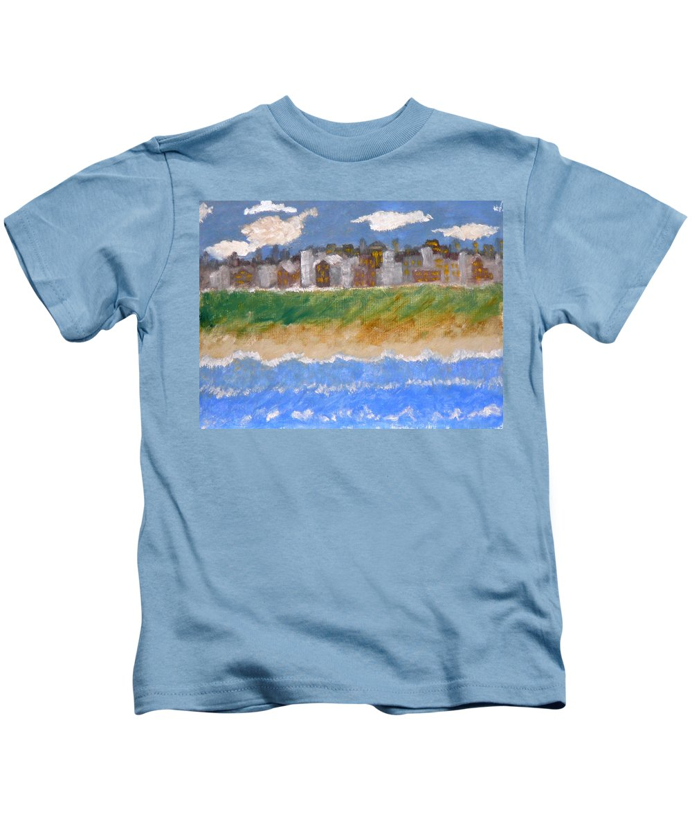 Seascape Kids T-Shirt featuring the painting Crowded Beaches by R B