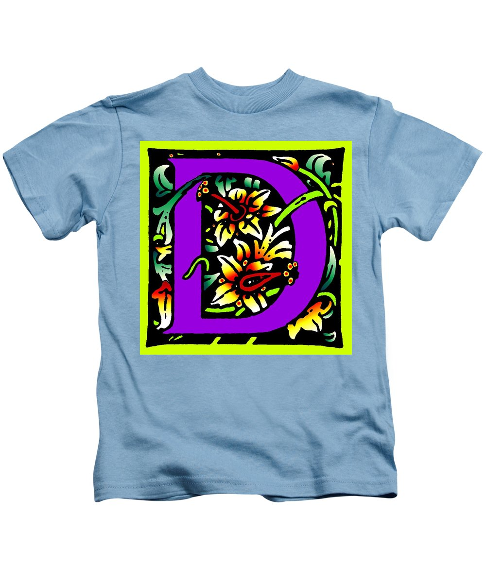 Alphabet Kids T-Shirt featuring the digital art D In Purple by Kathleen Sepulveda