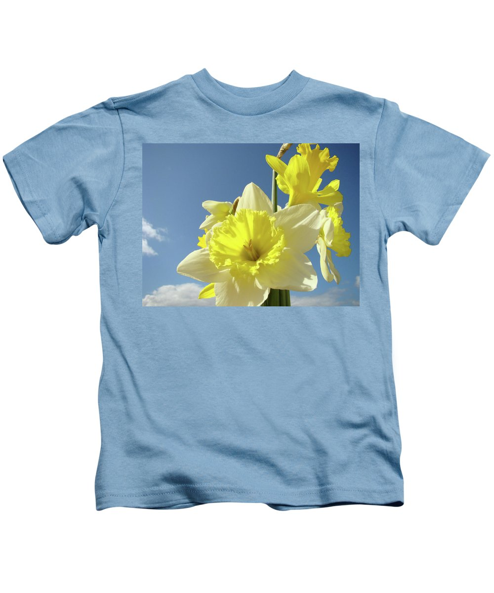 �daffodils Artwork� Kids T-Shirt featuring the photograph Daffodil Flowers Artwork Floral Photography Spring Flower Art Prints by Baslee Troutman