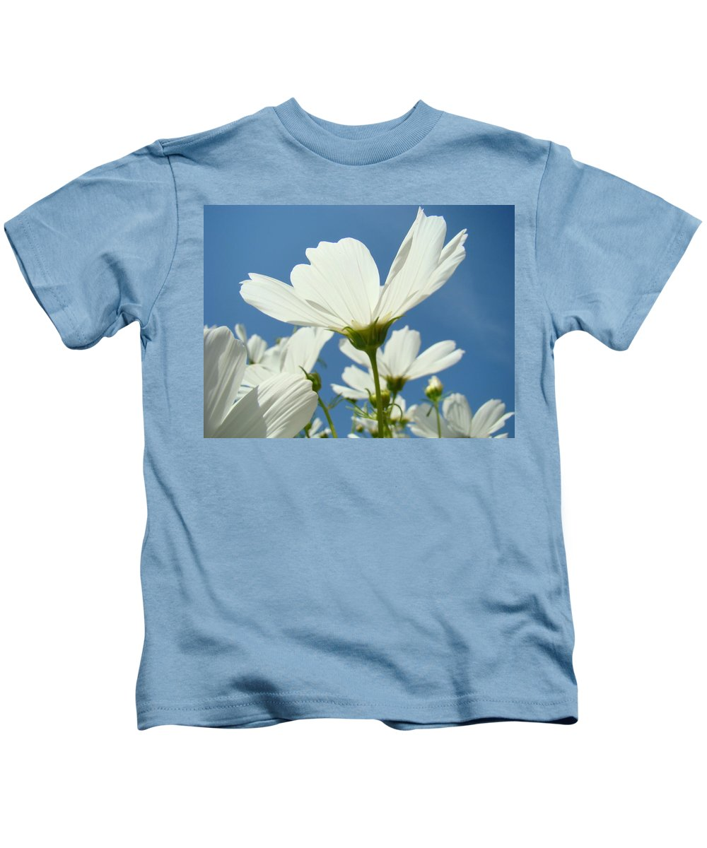 Daisy Kids T-Shirt featuring the photograph Daisies Floral Art Prints Canvas Daisy Flowers Blue Skies by Baslee Troutman