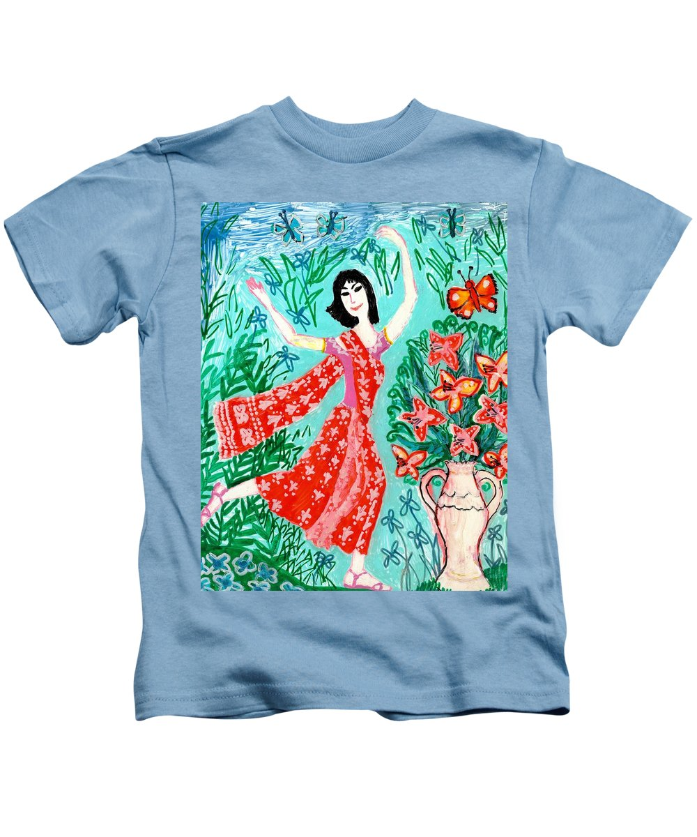 Sue Burgess Kids T-Shirt featuring the painting Dancer In Red Sari by Sushila Burgess