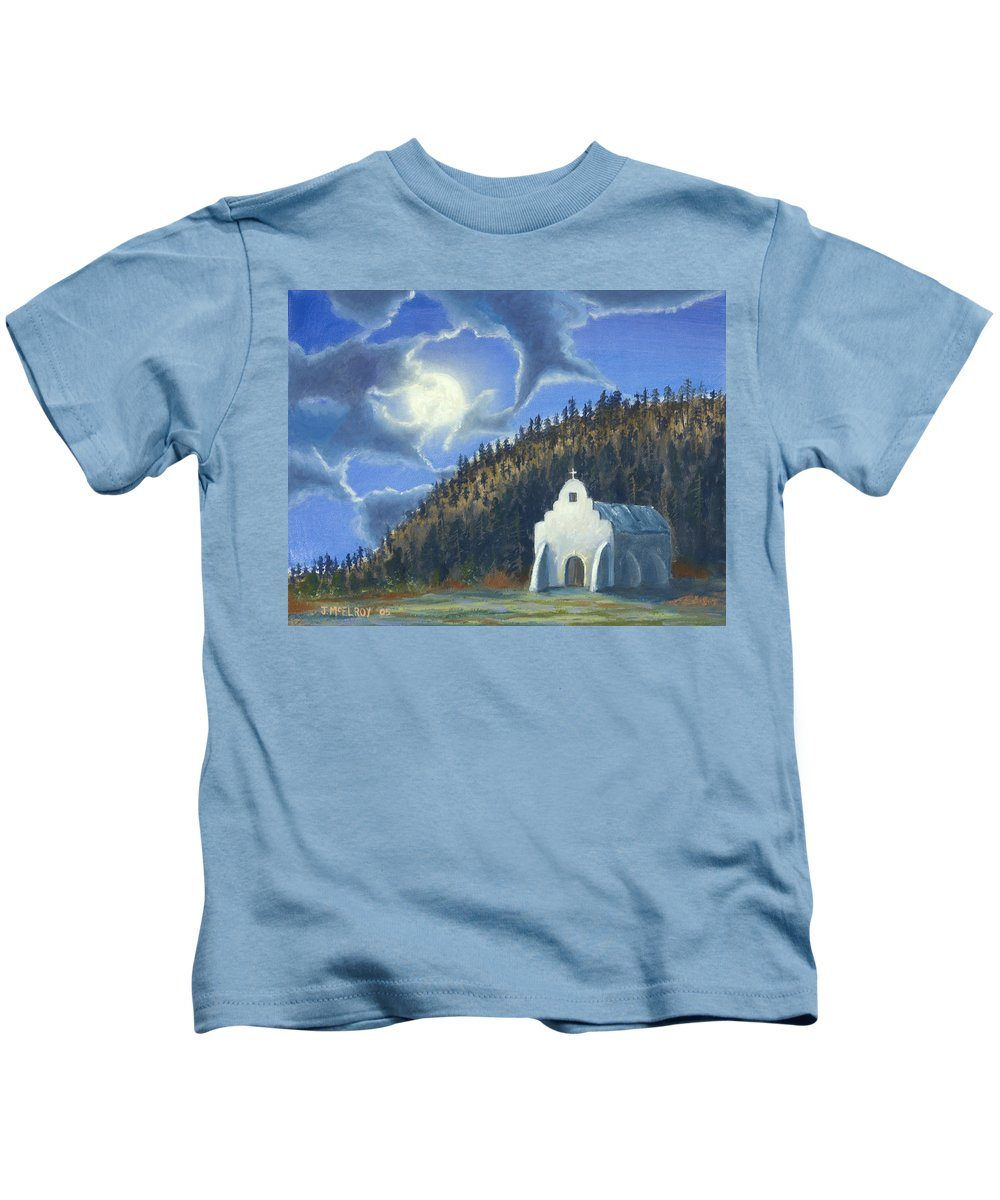 Landscape Kids T-Shirt featuring the painting Dancing In The Moonlight by Jerry McElroy