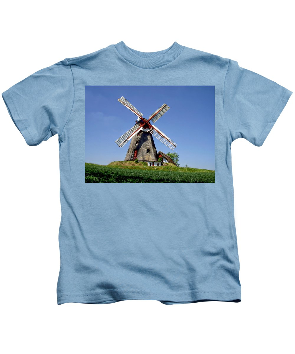 History Kids T-Shirt featuring the photograph Danish Windmill by Anthony Dezenzio