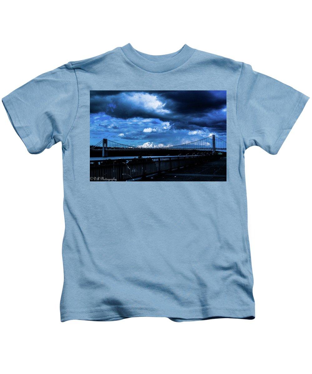 New York City Kids T-Shirt featuring the photograph Dark Crossway by DA Photography