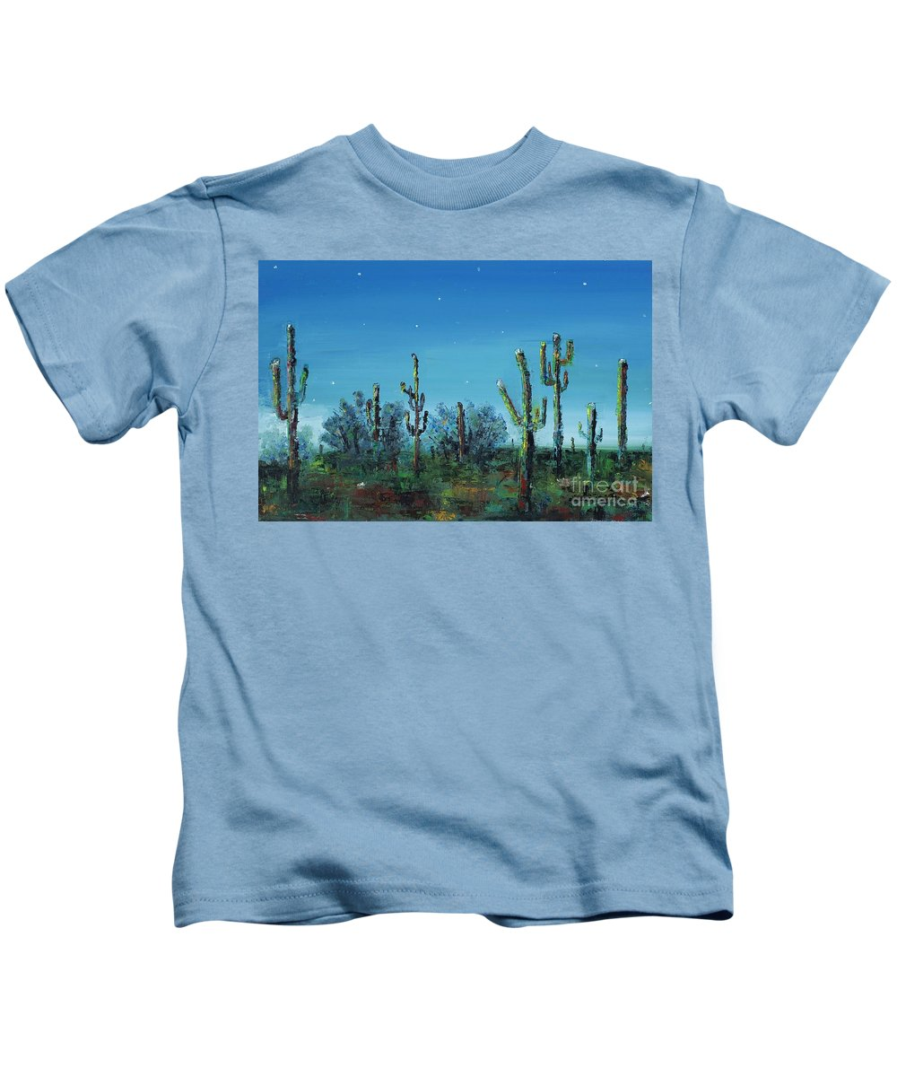 Desert Saguaro Catus In Bloom Kids T-Shirt featuring the painting Desert Blue by Frances Marino