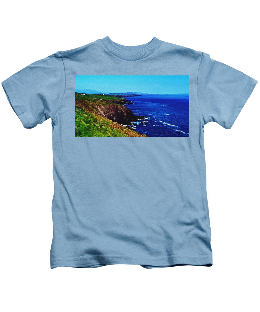 Irish Kids T-Shirt featuring the digital art Dingle Coastline Near Fahan Ireland by Teresa Mucha