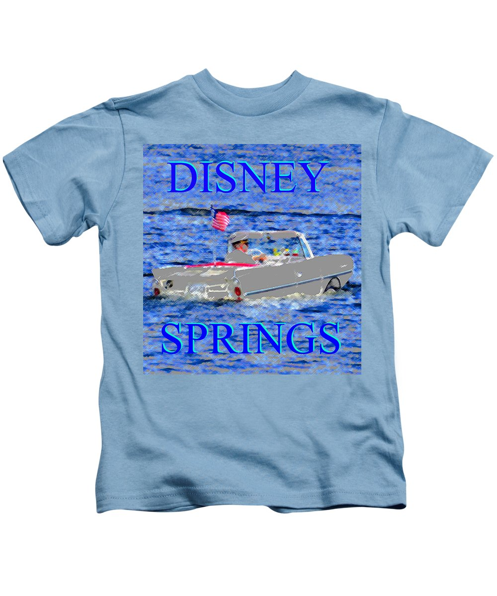 Disney Springs Kids T-Shirt featuring the painting Disney Springs Amphicar White by David Lee Thompson