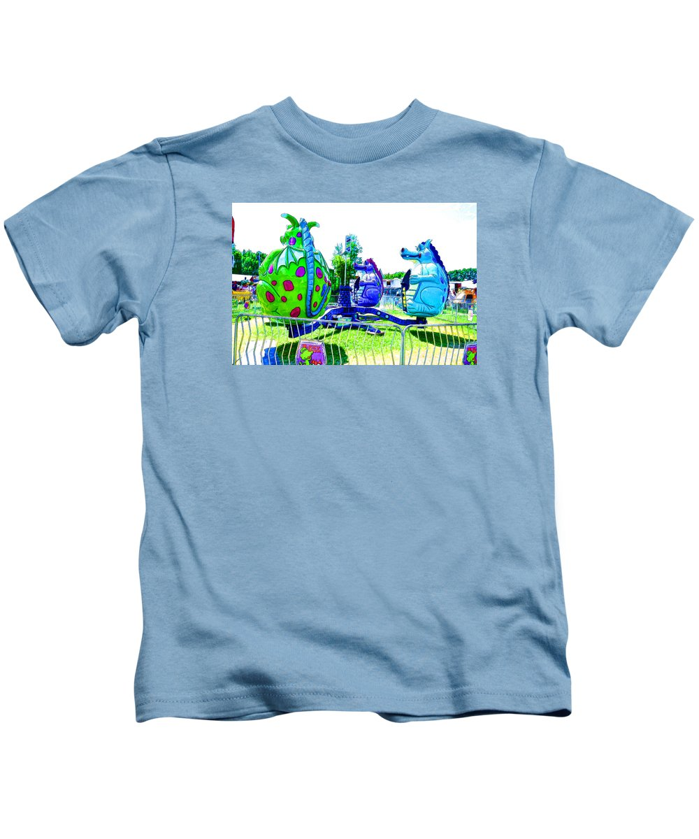 Dizzy Dragon Ride Kids T-Shirt featuring the painting Dizzy Dragon Ride 2  by Jeelan Clark