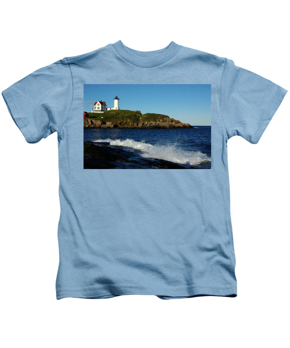 Landscape Lighthouse Nautical New England Cape Neddick Nubble Light Kids T-Shirt featuring the photograph Dnre0608 by Henry Butz